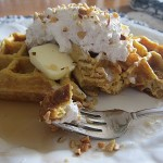 Pumpkin Waffles with Spiced Whipped Cream