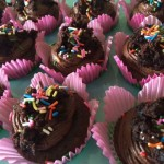 Double Chocolate Cupcakes with Brownie Batter Frosting/Brownie Garnish