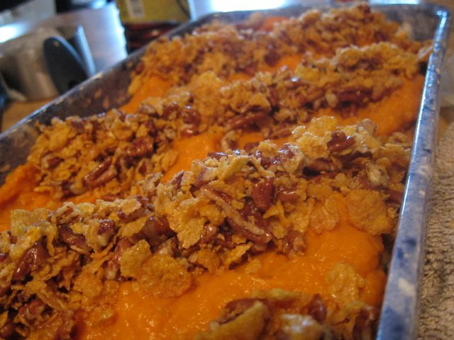 This Sweet Potato Casserole is crunchy, sweet, and salt; the perfect comfort food. Plus it is easy to make, helping to make your holiday prep uncomplicated. #womenlivingwell #fall #Thanksgiving #sweetpotato